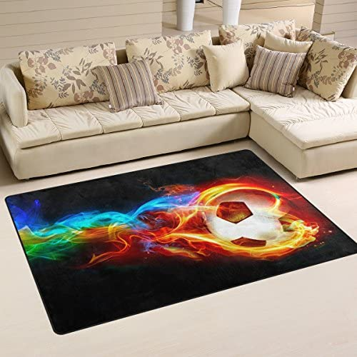 DEYYA Custom Print Non-Slip Area Rugs Pad Cover 60 x 39 Inch, Soccer Ball Pattern Throw Rugs Carpet Modern Carpet for Home Dining Room Playroom Living Room Decoration