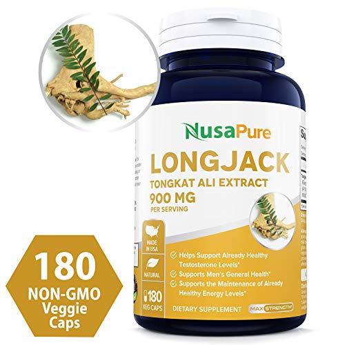 Longjack Tongkat Ali 900mg 180 Caps (Non-GMO & Gluten Free) - Natural Testosterone Booster, Increase Physical Endurance