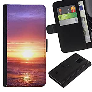All Phone Most Case / Oferta Especial Cáscara Funda de cuero Monedero Cubierta de proteccion Caso / Wallet Case for Samsung Galaxy S5 Mini, SM-G800 // Sunset Beautiful Nature 33
