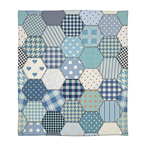 C COABALLA Lightweight Blanket,Cabin Decor,for Bed Couch Chair Fall Winter Spring Living Room,Size Throw/Twin/Queen/King,Blue Toned Patchwork Hexagons Stitched Seem Quilt
