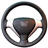 MEWANT Black Genuine Leather Car Steering Wheel Cover for Honda Old City Fit Jazz