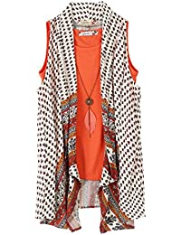 Speechless Big Girls' 2 Piece Printed Gauze Vest with Tee