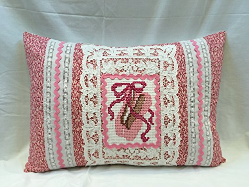Vintage Ballet Slippers & Lace Upcycled into Lovely NEW Pillow, Ballerina, Ballet, Dance, Pink, Girls Bedding, NEW Down/Feather Insert by Vintage Story Linens