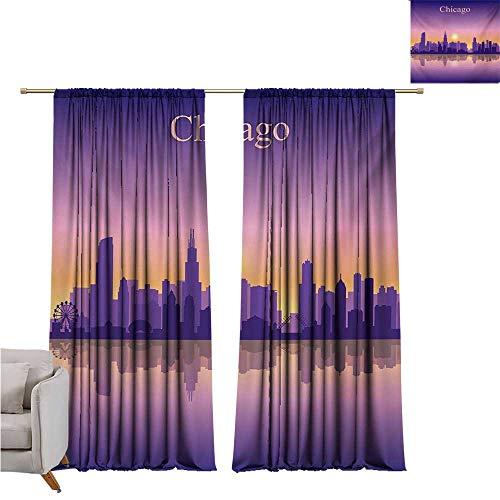 (DESPKON-HOME Window Darkening Curtains,Chicago Skyline Sunset in Illinois American Horizon Behind High City Silhouettes Party Darkening Curtains (108W x 72L inch,Purple Apricot)