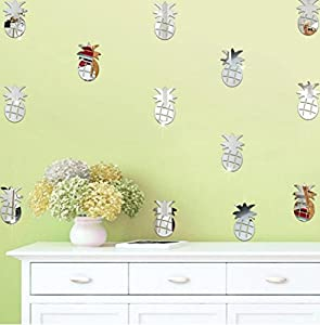 Sansee 12PCS Pineapple Silver Mirror Wall Stickers Decoration Home Room Art  3D DIY Wall Stickers (Silver) Part 46