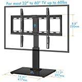 HUANUO HN-TVS02 Universal Table Top TV Stand for 32 to 60 Inch TVs with 40 Degree Swivel, 4.7 Inch Height Adjustment,Tempered Glass Base,Hold up to 60lbs Screens