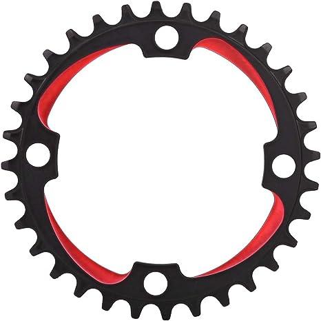 Juego de bielas para bicicleta, 3 colores Hollow Bicicleta de biela integrada Reemplazo de la rueda de cadena Aleación de aluminio de una sola velocidad Juego de bielas para bicicleta(Negro rojo): Amazon.es: