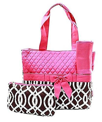 Quilted Vine 3pc Diaper Bag Set Pink & Brown