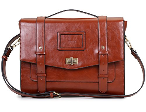 Faux Leather Briefcase (ECOSUSI Ladies Faux Leather Briefcase Shoulder Laptop Messenger Bags Satchel Bag Cambridge Backpack Fit 14