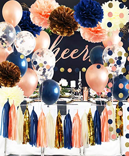 Bridal Shower Decorations Navy Rose Gold Balloons Qian's Party Navy Peach Wedding Decorations/Navy Peach Bachelorette Party Decorations 30th/40th/50th Birthday Party Decorations/Baby Shower Decor ()