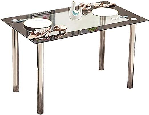 Mesa de comedor moderna de cristal templado negro con patas de ...