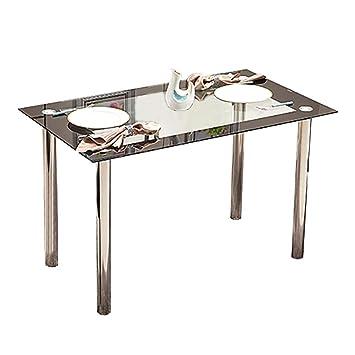 Mesa de comedor moderna de cristal templado negro con patas de metal ...