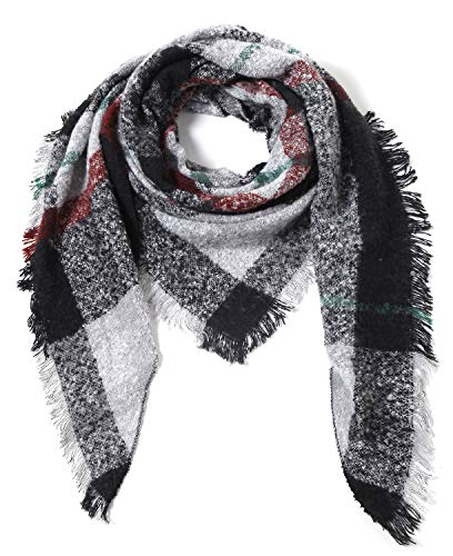Cindy & Wendy Lightweight Triangle Floral Fashion Lace Fringe Scarf Wrap for Women (Black/White/Brick Red Plaid)
