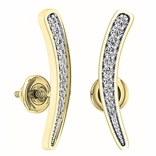 0.17 Carat (ctw) 14K Yellow Gold Round Cut White Diamond Ladies Curved Bar Ear Climber Earrings by DazzlingRock Collection