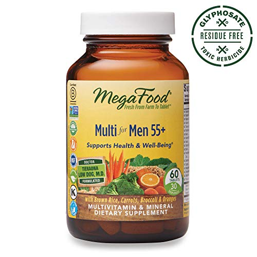 MegaFood - Multi for Men 55+, Multivitamin Support for Energy Production, Brain Function, Prostate and Heart Health with Zinc and Methylated Folate, Vegetarian, Gluten-Free, Non-GMO, 60 Tablets (FFP) (Best Vitamins To Take)