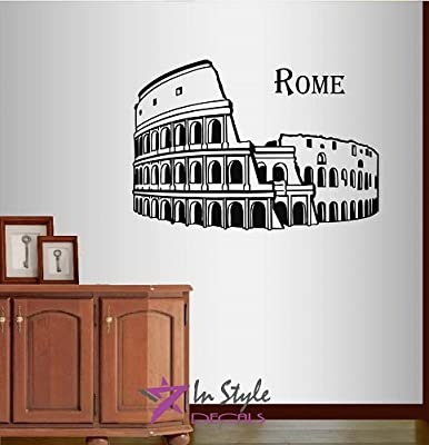 Wall Vinyl Decal Home Decor Art Sticker Rome Coliseum Colosseum Italy Antique Amphitheater Architecture Tourism Travel Bedroom Living Room Removable Stylish Mural Unique Design