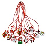12 PCS Merry Christmas Holiday Flashing Light Necklaces Christmas Snowman Santa Claus Pendant Necklac