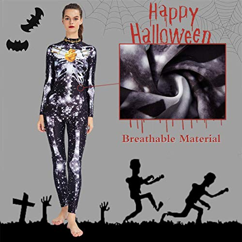 RAISEVERN White Star Print Black Playsuit Halloween Fancy Dress Costume Jumpsuit for Womens Long Sleeve Catsuit Night Club Party