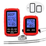 ANVS Meat Thermometer Wireless Remote Digital Cooking Food Oven Thermometer for Safe BBQ, Grilling, Smoker, Kitchen Cooking with Dual Probe and an Extra Set of Silicone Sleeves (Red)