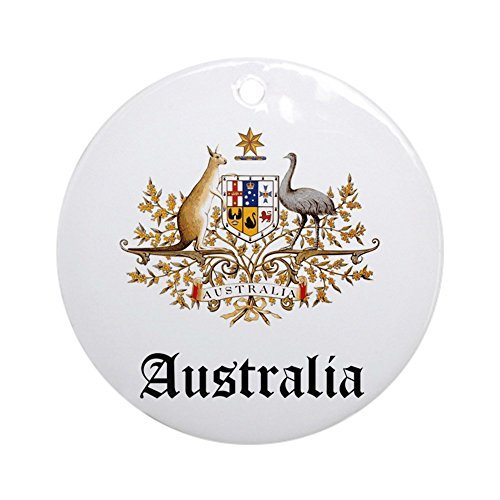Delia32Agnes Australian Coat of Arms Seal Christmas Ornaments Porcelain Ceramic Round 3 Inches Ornament Christmas Tree Decorations