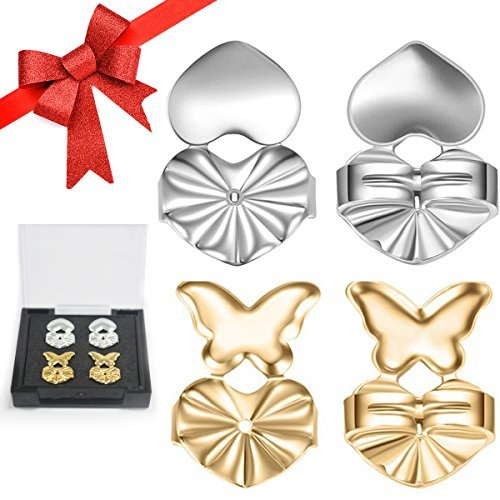 Earring Backs Lifters Screw Prime Secure for Droopy Ears Gold & Silver Color Adjustable Earring Support Lifts Hypoallergenic Backings Safety Butterfly for Heavy Birthday Gifts for - Upright Adjustable Support