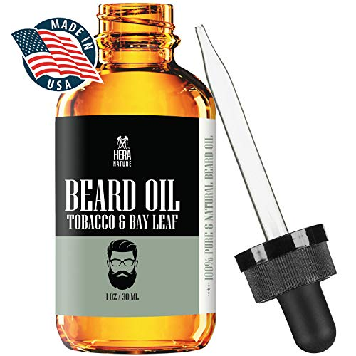 Hera Nature Beard Oil Conditioner for Men – Tobacco & Bay Leaf, Natural Ingredients, Keeps Beard and Mustache Full, Reduce Itchy, Promote Healthy Growth, Soft and Healthy, Vegan and Cruelty Free.
