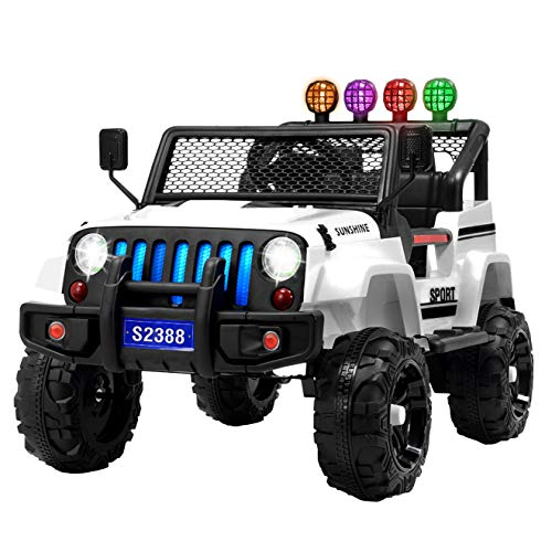 Uenjoy Jeep Kids Ride on Cars Jeep Wrangler Remote Control Electric Motorized Vehicles W/ Spring Suspension, Music& Story Playing, Colorful Lights, Sunshine Model, White