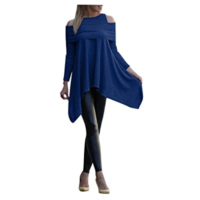 HDGTSA Womens Solid Sweatshirt Long Sleeve Irregular Pullover Loose Print Tops Blouse at Women's Clothing store