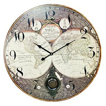 large 22 5 world map clock with pendulum home kitchen