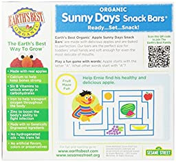 Earth\'s Best Organic Sunny Days Snack Bars, Apple, 8 Count (Pack of 6) ( 5.3 oz Packets )