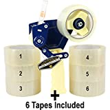 Mighty Gadget (R) Professional Tape Gun with 6 Free Rolls of Packaging Tape. Easy To Tape Boxes, Seal Cartons, Easy Loading, Professional Tape Dispenser for Shipping, Packaging and Moving