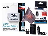 Vivitar LP-E8 Ultra High Capacity Rechargeable 1300mAh Li-ion Battery + AC/DC Vivitar Rapid Travel Charger + Microfiber Lens Cleaning Cloth LPE8 (Canon LP-E8 Replacement)