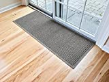 Hudson Exchange Waterhog Fashion Polypropylene Fiber Entrance Indoor/Outdoor Floor Mat Runner, 60'' L x 22'' W, 3/8'' Thick, Medium Gray
