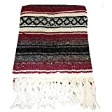 El Molcajete Brand Traditional Mexican Yoga Blanket Serape Burgundy