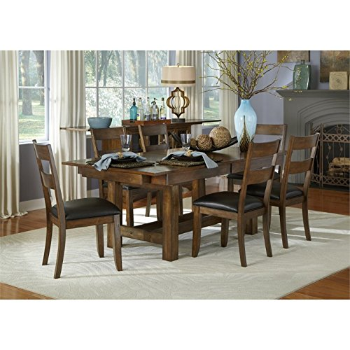 A-America Mariposa 7 Piece Extendable Dining Set in Rustic Whiskey