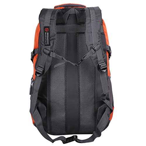 HWJIANFENG 55L Mochilas de Acampada Multifuncional Mochilas de Senderismo de Nailon Impermeable Mochilas de Ciclismo para Viajes Unisex,color negro naranja