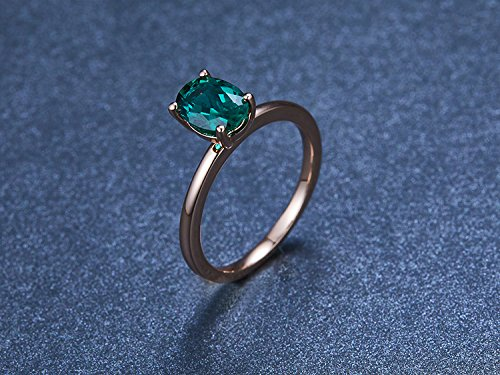 a315a473b Amazon.com: Emerald Engagement Ring Plain Gold Band 925 Silver Sterling  6x8mm Oval Cut Created Emerald Ring Rose Gold Plated: Handmade