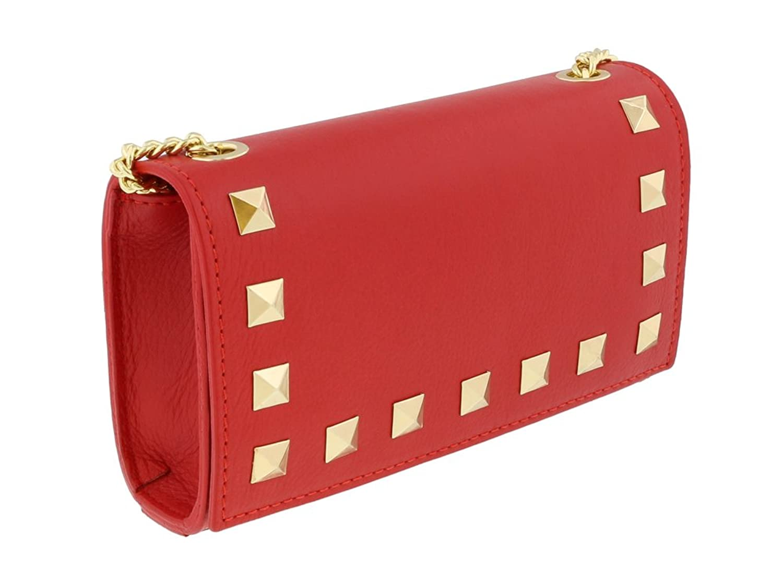 Scheilan Red Leather Studded Mini Crossbody/Shoulder Bag