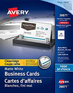 """Avery Clean Edge Business Cards for Inkjet Printers, 2"""" x 3-1/2"""", White, Matte Coated, 200 Pack, Rectangle (38871) (B00IWMQEUI) 