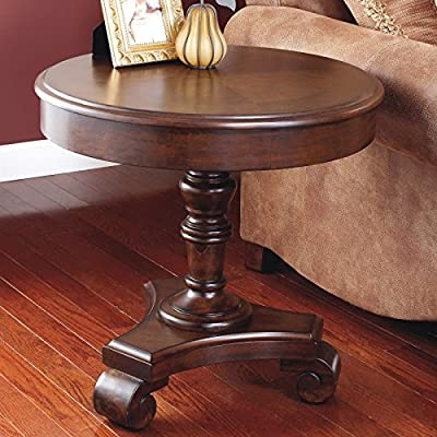 Premium Wood Construction Brown Round End Table -Brown