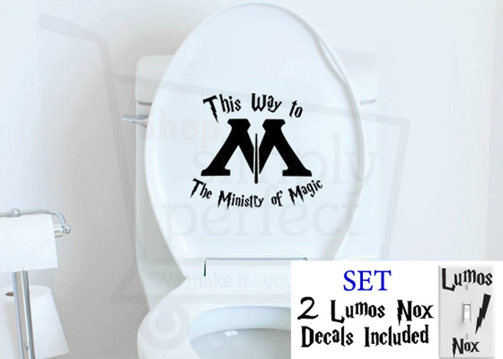 hot sale 2017 Harry Potter This Way to the Ministry of Magic with arrow Bathroom Toilet Decal