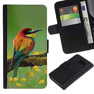 KingStore / Leather Etui en cuir / Samsung Galaxy S6 / Nature Printemps Eté Bec