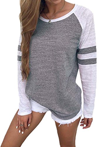Famulily Women's Long Sleeve Baseball Tee Shirt Crew Neck Colorblock Striped Tops(Gray,XX-Large)
