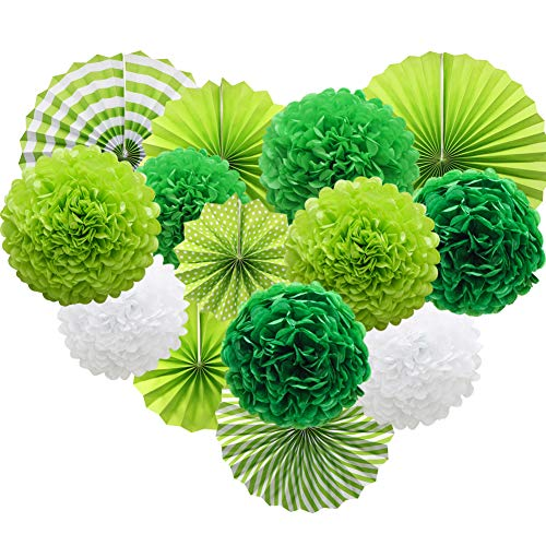 Green Hanging Paper Party Decorations, Round Paper Fans Set Paper Pom Poms Flowers for Birthday Wedding Graduation Baby Shower Events Accessories