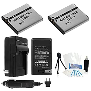 2-Pack LI-50B High-Capacity Replacement Batteries with Rapid Travel Charger for Select Olympus Cameras. UltraPro Bundle Includes: Camera Cleaning Kit, Screen Protector, Mini Travel Tripod