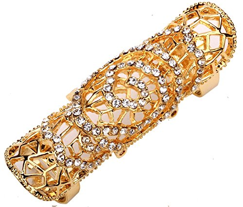 YACQ Women's Double Full Finger Armor Knuckle Long Ring Adjustable Halloween Party Costume Jewelry Accessories Gifts ()