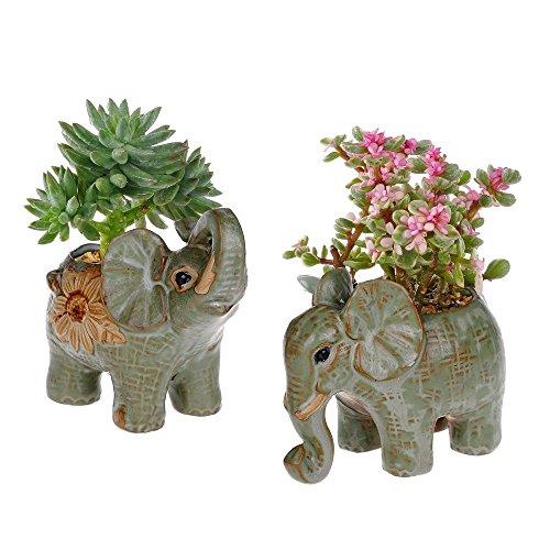 2 Pack Elephant Shaped Succulents Plants Pot Retro Glaze Ceramic Flower Pot Garden Yard Flower Succulent Bonsai Bed Trough Plant DIY Pot home desktop decoration by Supla