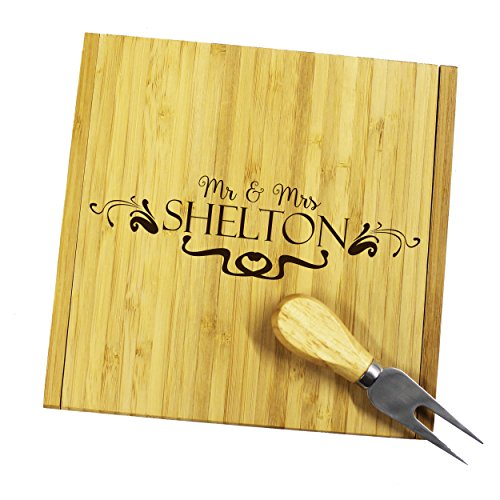 Personalized Engraved Cheese Board Tray and Knife Tools Set - Custom Monogrammed for Free by My Personal Memories (Image #2)