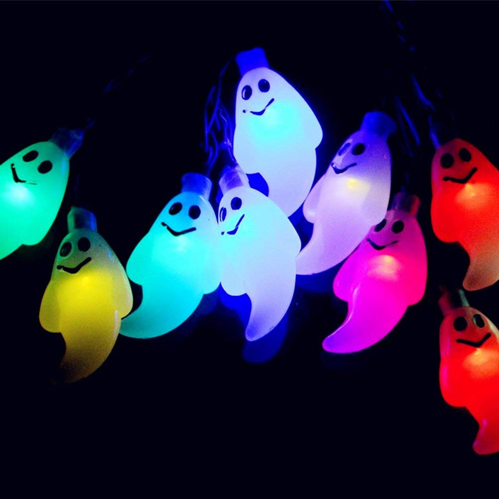 Yostyle Halloween Decorations Solar String Lights, 30 LED Waterproof Cute Ghost LED Holiday Lights for Patio, Garden,Outdoor Decor, 2 Modes Steady/Flickering Lights [Light Sensor] 19.7ft Multicolor