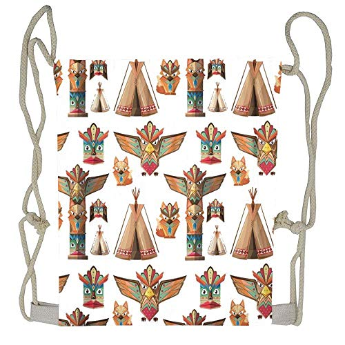 AoshangGardeflag Animal with Totem Poles Artistic Bird Clip Clip Clipart Craft Culture Drawstring Bag Backpack for Boys Girls Casual Sackpack